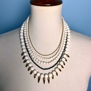 Layered White Stone Gold Spike Statement Necklace